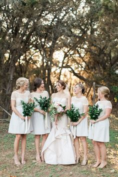 Off white bridesmaid dresses | Photo by J Bird Photography