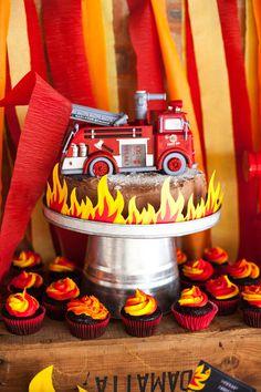 Chalkboard Fireman Party Cake