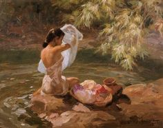 Fernando Amorsolo - Bathing by the River 1939 Renaissance Paintings, Renaissance Art, Aesthetic Painting, Aesthetic Art, Arte Peculiar, Filipino Art, Philippine Art, Old Paintings, Classical Art