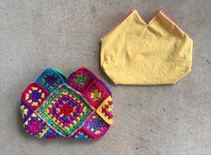 granny square crochet purse, crochetbug, granny square purse, fabric lined crochet purse, Bolso de crochet