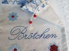 """Brotbeutel """"Brötchen"""" blau weiß aus Leinen von Barosa auf DaWanda.com"""