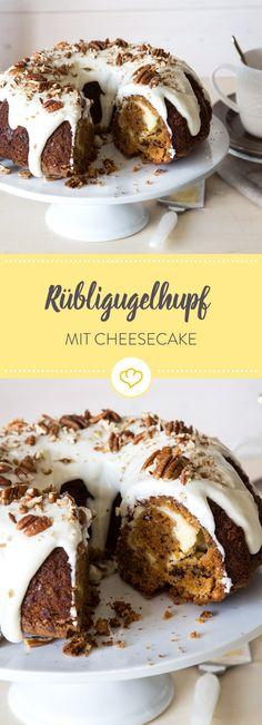 Rüblikuchen meets Cheesecake. Der luftige Carrotcake mit Pekannüssen und herrlich dickem Frischkäseguss schmeckt nicht nur Ostern.