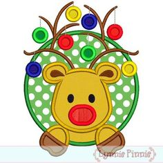Embroidery Designs - Reindeer with Ornaments Circle Frame Applique 4x4 5x7 6x10 - Welcome to Lynnie Pinnie.com! Instant download and free applique machine embroidery designs in PES, HUS, JEF, DST, EXP, VIP, XXX AND ART formats.