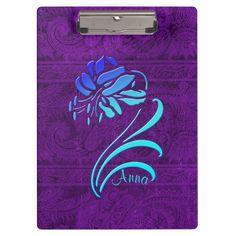 Trendy Blue Floral Purple Damask Clipboard