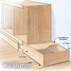 Most lower cabinets include a base or toe-kick that raises them off the floor, bt Ken doesn't build them that way.