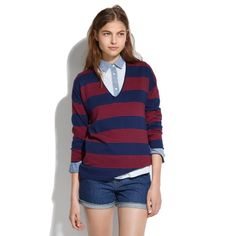 Madewell Deckhouse Sweater in Stripe super comfy blue and red striped madewell sweater, loved but has so much life left❣ Madewell Sweaters V-Necks