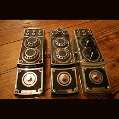 re-purposed rollex cameras as guitar effect pedals