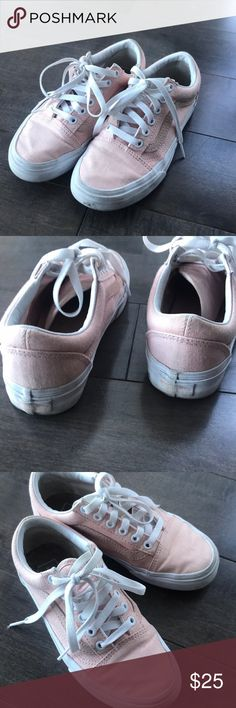 Pink Vans! Pink low-top Vans!  Some wear that can be easily be taken out in wash.  Fits true to size.  Feminine color to pair with a cute dress!  Going through closet, taking offers and bundles:) Vans Shoes Sneakers