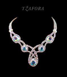 """Sugar Blues"" - Swarovski ballroom necklace. Ballroom dance jewelry, ballroom dance accessories. www.tzafora.com Copyright © 2015 Tzafora. Handmade in Canada."