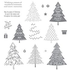 "Peaceful Pines Photopolymer Bundle 140850 Price: $45.00 save 15%. Peaceful Pines Photopolymer Stamp SetHow to trim a Christmas tree in two easy steps:1. Stamp the tree.2. Stamp the decorations.Quantity: 17 photopolymer stamps Suggested clear blocks (sold separately): a, c, d Perfect Pines Framelits Dies Cut out a basic tree shape, then add texture and depth with the layering pieces.* 11 dies * Largest image: 2-15/16"" x 2-5/16"" 