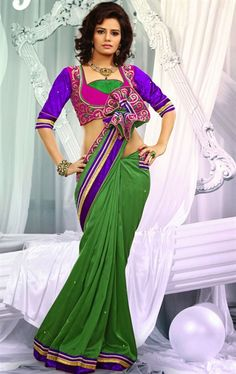 Scintillating Pale Chrome Green Color Saree with Blouse