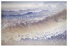 Shore Break by Ian Phillips - linocut