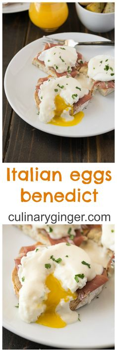 Italian Eggs Benedict - based on the classic eggs benedict with a couple of substitutions: prosciutto for ham, parmesan sauce for hollandaise and ciabatta for English muffins. What's For Breakfast, Savory Breakfast, Breakfast Casserole, Breakfast Recipes, Breakfast Dishes, Egg Recipes, Cooking Recipes, Donut Recipes, Italian Eggs
