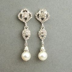 Swarovski Crystal and Pearl Bridal Earrings Vintage by luxedeluxe, $42.00