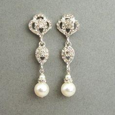 Swarovski Crystal and Pearl Bridal Earrings, Vintage Style Rhinestone Pearl Wedding Dangle Earrings, Old Hollywood Jewelry, LARA. $42.00, via Etsy.