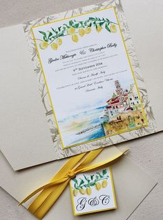 Lemons ripe for the picking, paired with a watercolor landscape illustration of Sorrento, Italy. #momentaldesigns #kristyrice #italywedding #handpaintedinvite #landscapeinvite #watercolorwedding