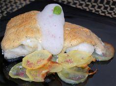 Receta de Bacalao con muselina de pesto y aire de limón
