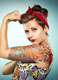 Pinup Hair & Makeup  #Retro #Vintage #Rockabilly #Classic #Pinup #Pin #Up #Bangs #Bandana #Scarf #Ink #Inked #Tattoo #Tattos #Shirt #Tank #Top #Arm #Smile #Woman #Model #Makeup #Rosie #Riveter #Tribute