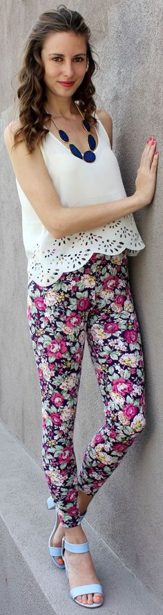 Urban Peach Black Cute Tapestry Floral Leggings