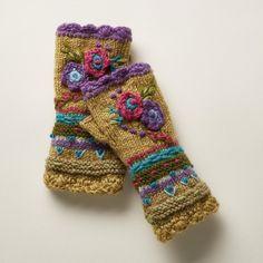 Fleece-Lined Floral Wool Handwarmers | Robert Redford's Sundance Catalog