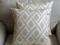 SAND Linen Pillows 18x18 PAIR inserts included