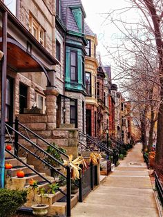 Brownstone bâtiments-Lincoln Park -8 x 10 FIne Art Photography-Home Decor-Bureau Decor-Chicago Art pariétal