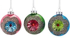 Witch's Eye Ornaments with Glitter - Set of 3 - Christmas Ornament - Xmas Ornaments - Glitter Ornaments - Christmas Tree Ornaments | HomeDecorators.com