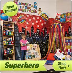 Superhero Reading Corner - Shop Now Reading Corner Classroom, Writing Corner, Writing Area, Superhero Classroom Door, Superhero Writing, Reading Corners, Book Corners, Classroom Displays, Classroom Themes