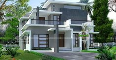2238 square feet, 4 bedroom stylish contemporary house architecture by R it designers, Kannur, Kerala. House Porch Design, Small House Design, Modern House Design, Villa Design, House Plans Mansion, Indian House Plans, Model House Plan, Kerala House Design, Kerala Houses
