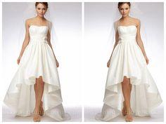 IVORY SILK TAFFETA STRAPLESS HIGH-LOW MINI BALL GOWN WEDDING DRESS
