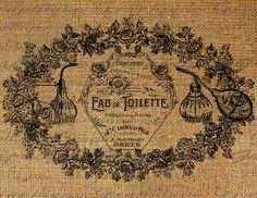 Paris French Perfume Bottles Words Digital Image Download Sheet Transfer To Pillows Totes Tea Towels Burlap No. 1549. $1.00, via Etsy.