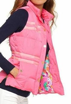 Lilly Pulitzer Kate Puffer Vest in Tropical Pink