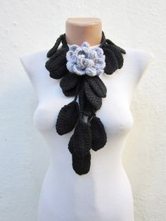 Removeable spilla Pin Handmade crochet Lariat di scarfnurlu Diy Scarf, Bandana, Crochet Necklace, Handmade, Etsy, Jewelry, Fashion, Gardens, Bandanas