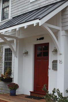 Front Doors: Gorgeous Awnings For Front Door For Modern Ideas. Images Of Front Door Awnings. Copper Awning Over Front Door. Black Awning Over Front Door. Canvas Awnings For Front Door. Wood Awning Over Front Door. House Plans, Front Door Overhang, Exterior Design, Black Metal Roof, House, Porch Roof, Metal Awning, Door Overhang, House Exterior