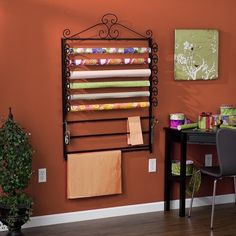 Black Gift Wrapping Paper & Craft Storage Rack Organizer Wrap Station New | eBay