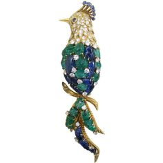 Van Cleef & Arpels - CARVED EMERALD and SAPPHIRE BIRD BROOCH by VAN CLEEF…