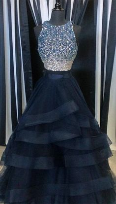 wedding decorations tulle two pieces prom dress champagne two pieces formal 9160