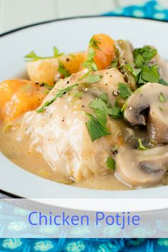 This succulent, fall-off-the-bone chicken potjie is creamy and packed full of vegetables. You can cook it slowly over the coals or even on the stove. Slow Cooker Recipes, Meat Recipes, Dinner Recipes, Recipies, Oven Chicken Recipes, South African Recipes, Orange Recipes, Creamy Chicken, Rhodes