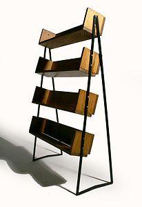 Vintage 40's 50's Mid Century Wood Metal Bookshelf Store Fixture