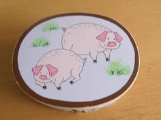 vintage Pig box Piggy Pigs Wood Oval Shaker Trinket Storage Box Penny Auctions, Pigs, Decorative Plates, Storage, Box, Vintage, Home Decor, Purse Storage, Snare Drum