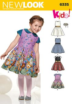 Sew this children's dress for a special occasion or for dress-up time. Dress can be sleeveless with or without trim, or have short contrast sleeves and collar. Sew it with New Look pattern 6335.