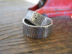 Heart on Tree Bark His and Hers Wedding Bands...I LOVE THESE!!!!!