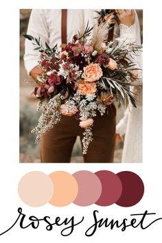 Wedding Color Pallet, Wedding Color Schemes, Color Palette For Wedding, Fall Color Schemes, Wedding Color Combinations, Fall Color Palette, Floral Wedding, Wedding Bouquets, Burgundy Wedding
