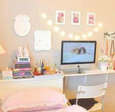 delicate bed & desk space.