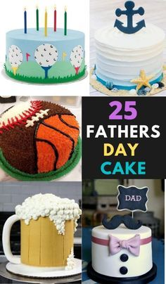 25 Coolest Fathers day cake to make for your superhero this father's day. The list has cakes ideas to suit any baking level. Tasty Chocolate Cake, Chocolate Bark, Beautiful Cakes, Amazing Cakes, Golf Course Cake, Beer Mug Cake, One Tier Cake, Burger Cake, Dad Cake