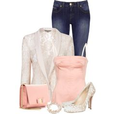 """""""Satin, Pearls, & Lace"""" by callmeadie on Polyvore"""