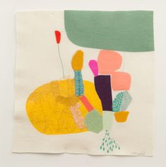 Mustard | Maxine Sutton, Screen print, appliqué, embroidery and needle punch on wool felt. 50cm x 50cm