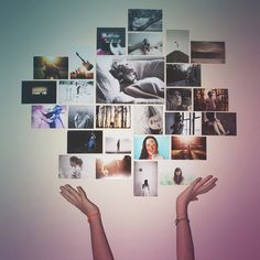 Photo prints display on the wall