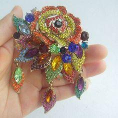 "Costume Jewelry Multicolor Rhinestone Crystal Flower Brooch Pin 3.94"" EE06454C6 #Handmade"