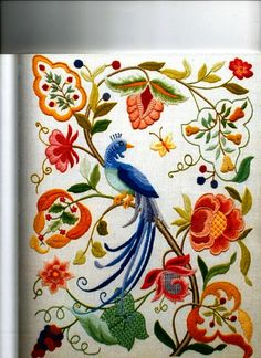 Marvelous Crewel Embroidery Long Short Soft Shading In Colors Ideas. Enchanting Crewel Embroidery Long Short Soft Shading In Colors Ideas. Bordado Jacobean, Jacobean Embroidery, Hungarian Embroidery, Crewel Embroidery, Hand Embroidery Designs, Vintage Embroidery, Ribbon Embroidery, Cross Stitch Embroidery, Embroidery Patterns